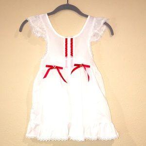 Girls vintage Swiss dot pinafore apron Dress USA